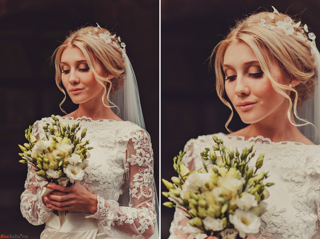 Прически для невесты на средние волосы с фатой 2017
