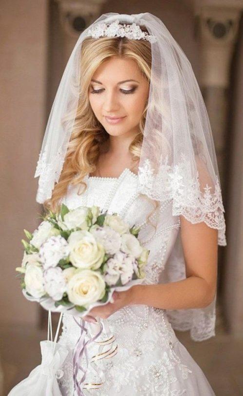 Свадебные прически с фатой 1