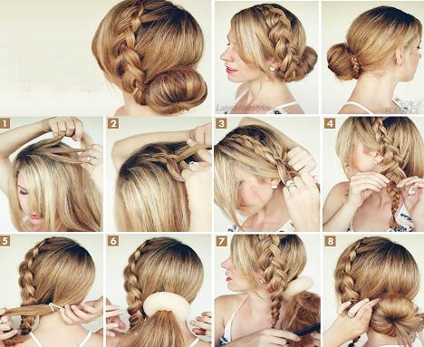 Деловые прически на средние волосы пучок с косой
