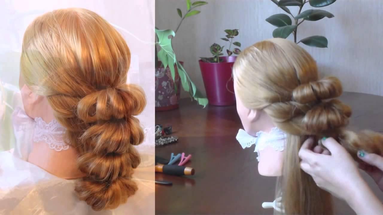 Коса с помощью резинок