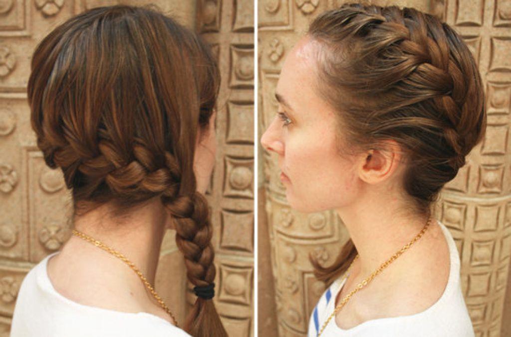 Прическа с косой колосок