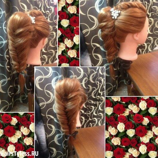 Праздничные прически на средние волосы